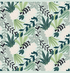 modern seamless pattern with tropical leaves vector image