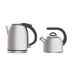 modern shiny metal teapots electric and simple vector image