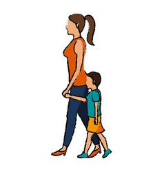 Mom and son walking people character vector