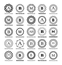 monogram template design - big set vector image