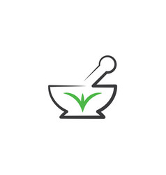Mortar and pestle logo icon pharmacy symbol vector