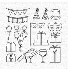 party celebration set icons vector image