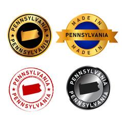 pennsylvania badges gold stamp rubber band circle vector image
