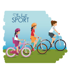 people riding bycicle vector image