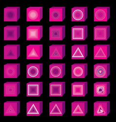 pink 3d multi media icons music and sound button vector image