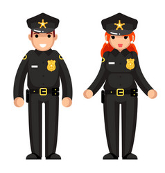 police officer female male policeman flat design vector image