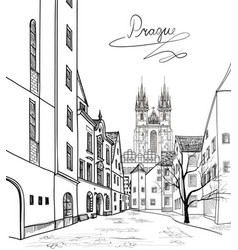 Prague city skyline building silhouette cityscape vector
