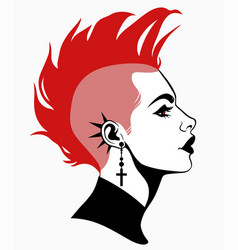 Punk subculture hairstyle girl profile portrait vector