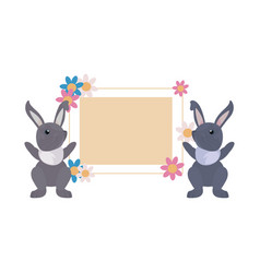 rabbits flowers label easter vector image
