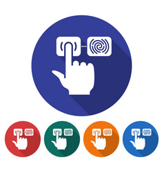 round icon of fingerprint scanning line icon vector image