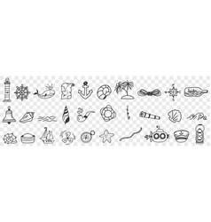 sailing and nautical equipment doodle set vector image