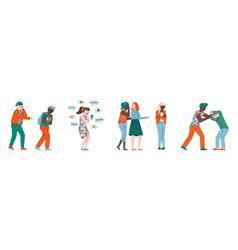 school bully and victim set - cartoon children vector image