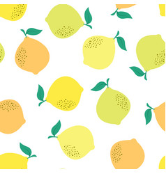 seamless pattern lemon isolated on white vector image