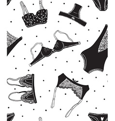 Seamless pattern of black icons of womens vector