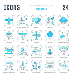 Set blue line icons aircraft vector