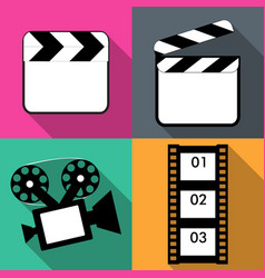 set of icons on a theme in flat video vector image
