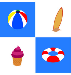 Set of summer objects vector