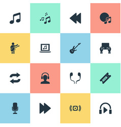 set simple melody icons vector image