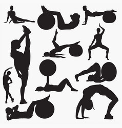 silhouettes of woman fitness 3 vector image