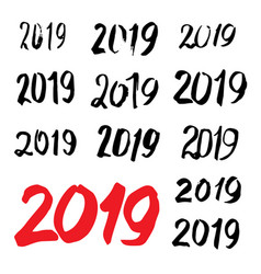 sketched 2019 greeting card calligraphy vector image