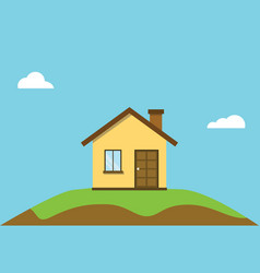 small flat house on top off hill with blue sky vector image