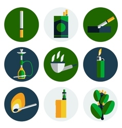 Smoking and tobacco flat icons vector