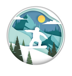 snowboarding in paper art vector image