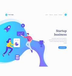 startup business concept workflow flying or vector image