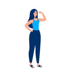 Strong girl concept flexing arm for women power vector