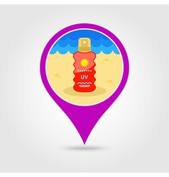 Sun Cream in Spray pin map icon Summer Vacation vector