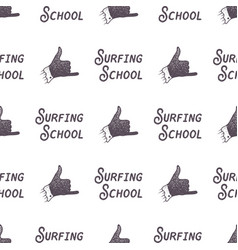 surfing school old style pattern design summer vector image