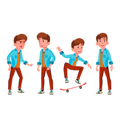 teen boy poses set caucasian positive vector image