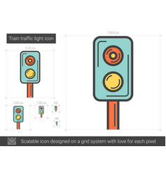 Train traffic light line icon vector
