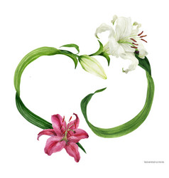 Tropical heart wreath with oriental lilies vector