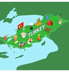 Turkey map isometric 3d style vector