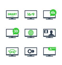tv icons 4k 3d smart tv aspect ratio vector image