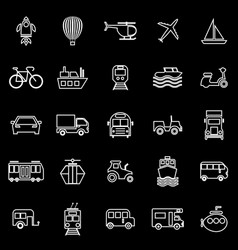 vehicle line icons on black background vector image