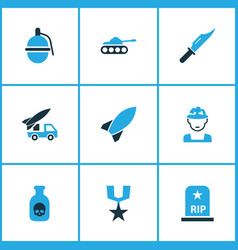 Warfare colorful icons set collection soldier vector