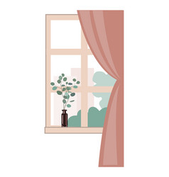 window overlooking city buildings and trees vector image