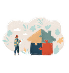 woman with blueprint in her vector image