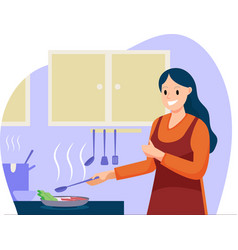 women cook food from home during quarantine flat vector image