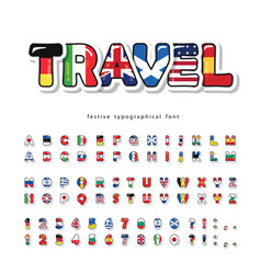 world flags cartoon font bright decorative vector image