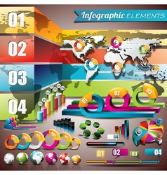 world map design set of infographic elements vector image