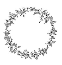 Wreath chaplet frame flowers roses and leaves hung vector