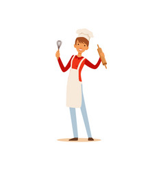 young woman in white apron and chef hat standing vector image