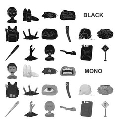 Zombies and attributes black icons in set vector