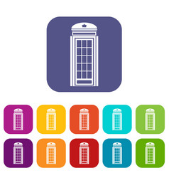 Phone booth icons set vector