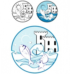 sea park design elements vector image vector image