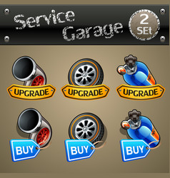 upgrade and buy parts icons for race game-set 2 vector image vector image