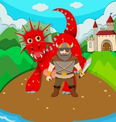 Viking and dragon on island vector image vector image